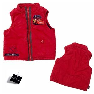 """Red Disney """"Cars"""" Zip Up Padded Vest for Boy 12mo"""